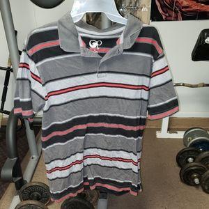 Mens medium black, grey, and red striped shirt